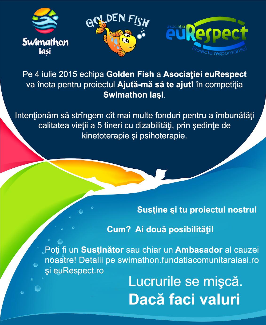 Susţine proiectul euRespect în competiţia Swimathon Iaşi!